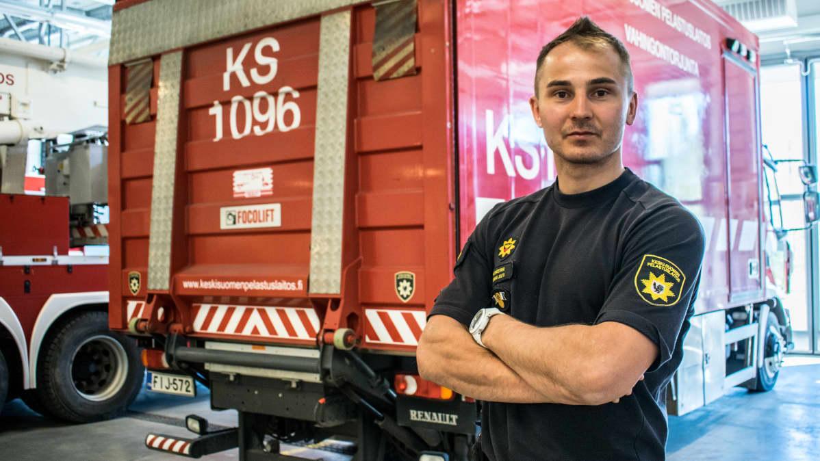 Päivystävä palomestari Tuomas Juuti Keski-Suomen Pelastuslaitokselta.