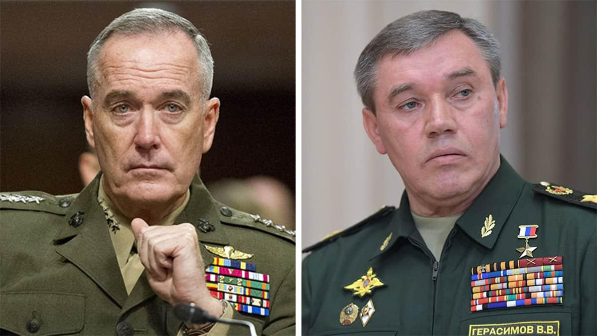 Yhdysvaltojen asevoimien komentaja, kenraali Joseph F. Dunford Jr. ja Venäjän asevoimien komentaja, armeijakenraali Valeri Gerasimov.