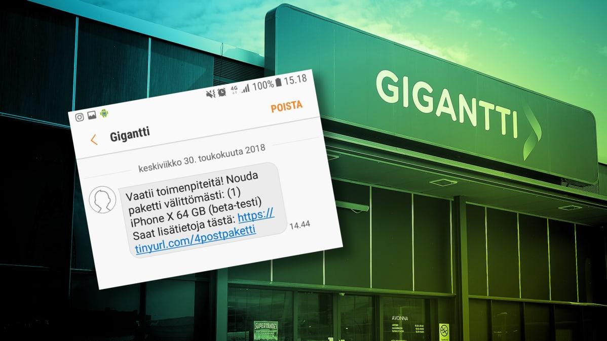 Kuvakaappaus Gigantin nimissä lähetetystä huijausviestistä.