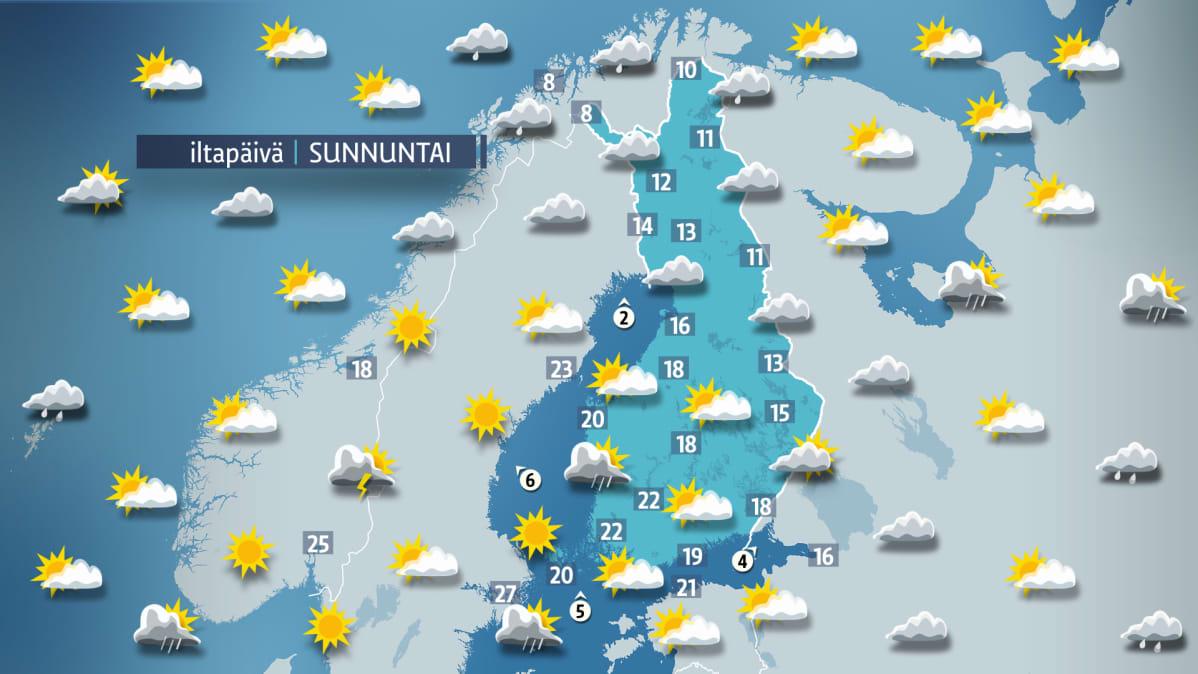 Sääennuste sunnuntaille 10. kesäkuuta.
