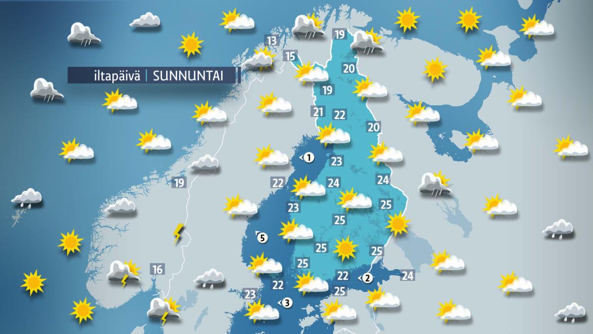 Sääennuste sunnuntaille 17. kesäkuuta.