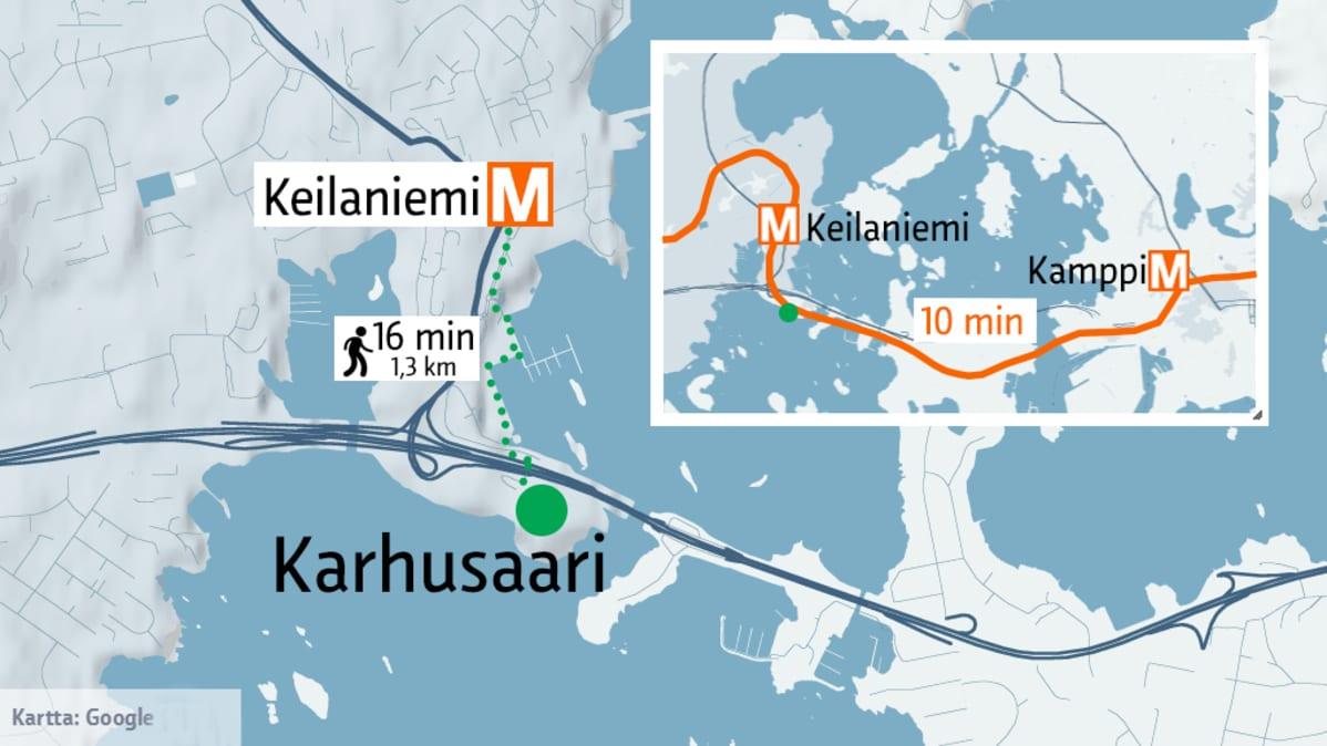 Kamppi-Keilaniemi-Karhusaari kartta.