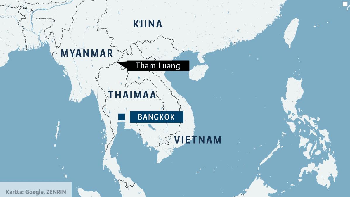 Thaimaan kartta, josta ilmenevät Bangkokin ja Tham Luangin sijainnit.