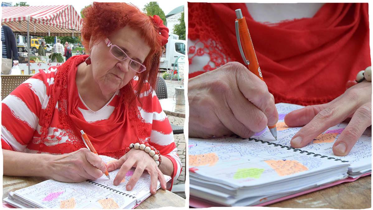 Kaksiosainen kuva, jossa nainen kirjoittaa toripöydän ääressä, ja vieressä lähikuva kirjoittamisesta