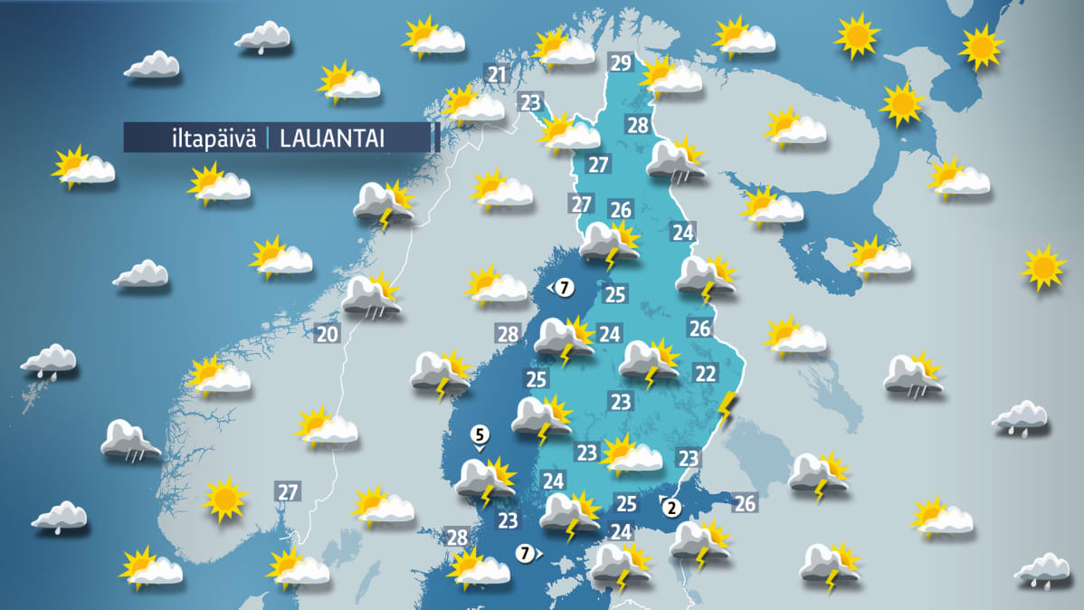 Lauantain sääkartta.