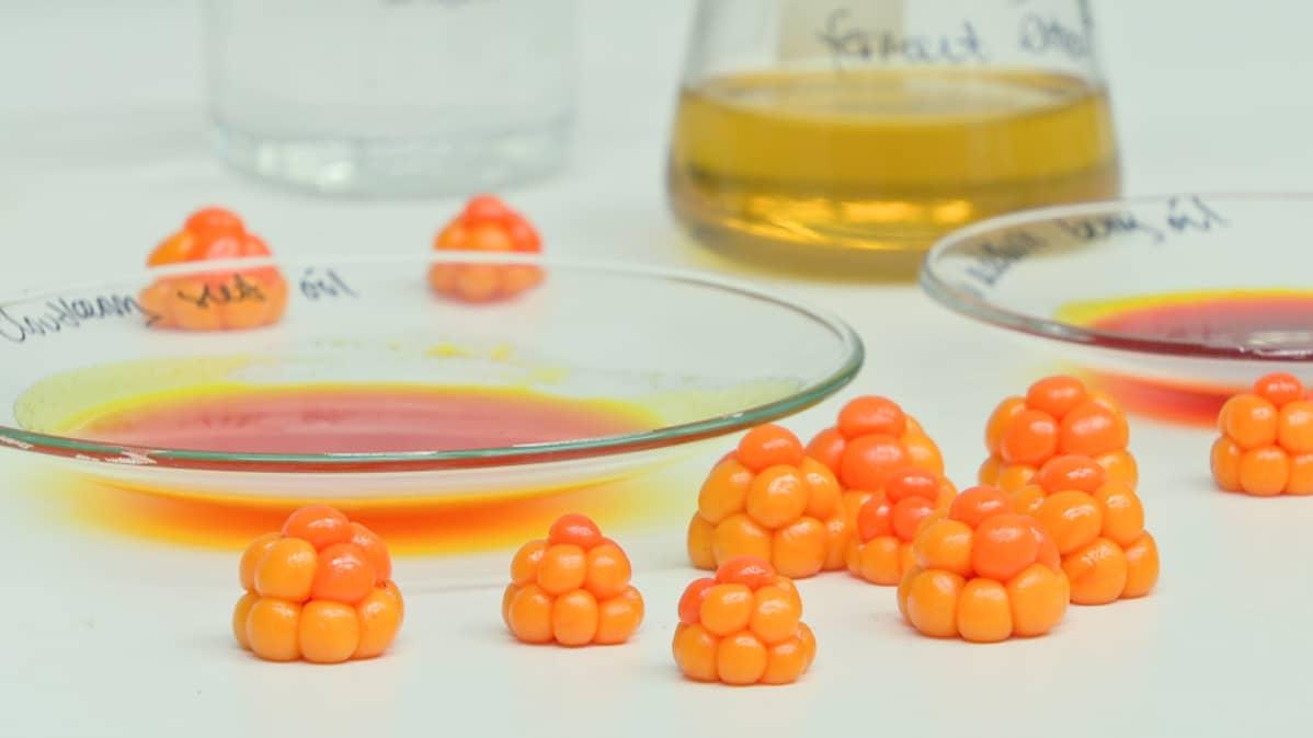 Lakkoja pöydällä Lumenen laboratoriossa.