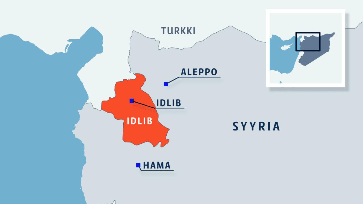 Kartta, jossa Syyrian maakunta Idlib, kaupungit Idlib, Hama ja Aleppo