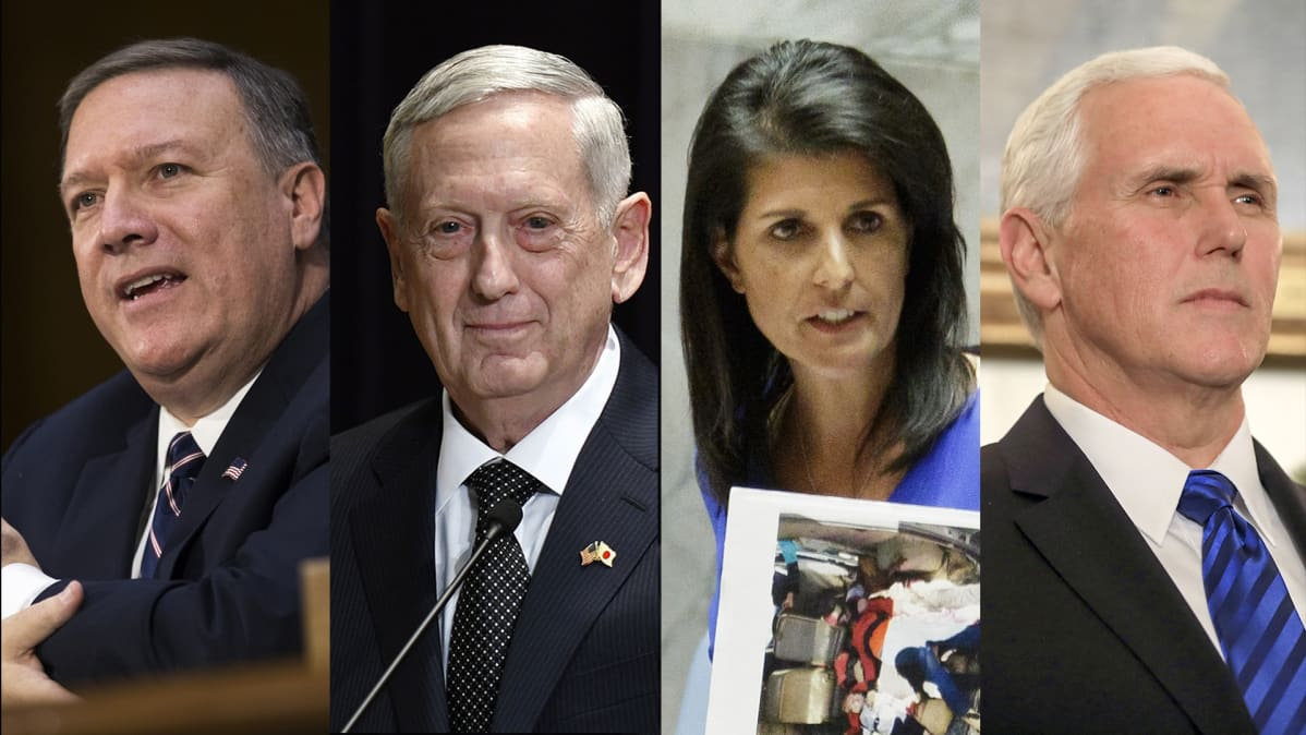 Mike Pompeo, James Mattis, Nikki Haley ja Mike Pence