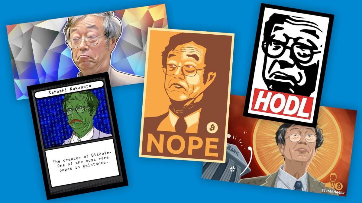 Satoshi Nakamoto meemejä.