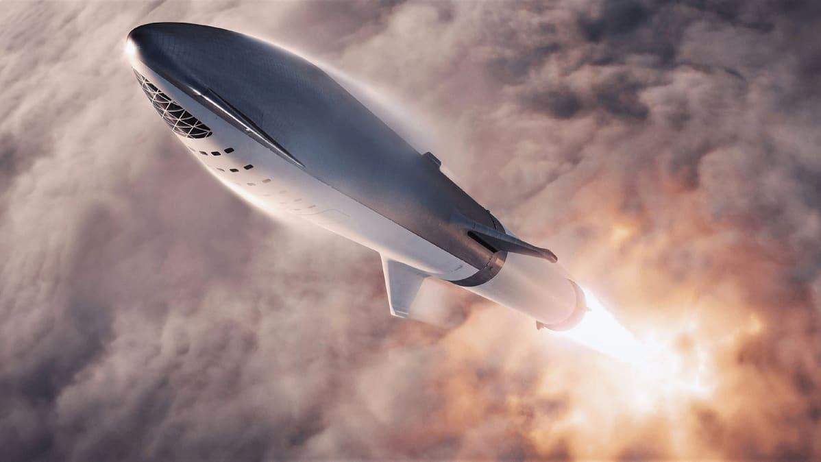 Taiteilijan näkemys Space X:n Big Falcon Rocket -raketista.