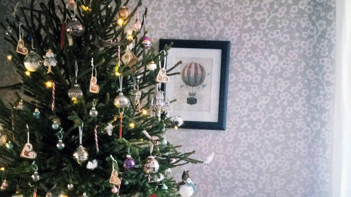 Joulupalloilla koristeltu joulukuusi.