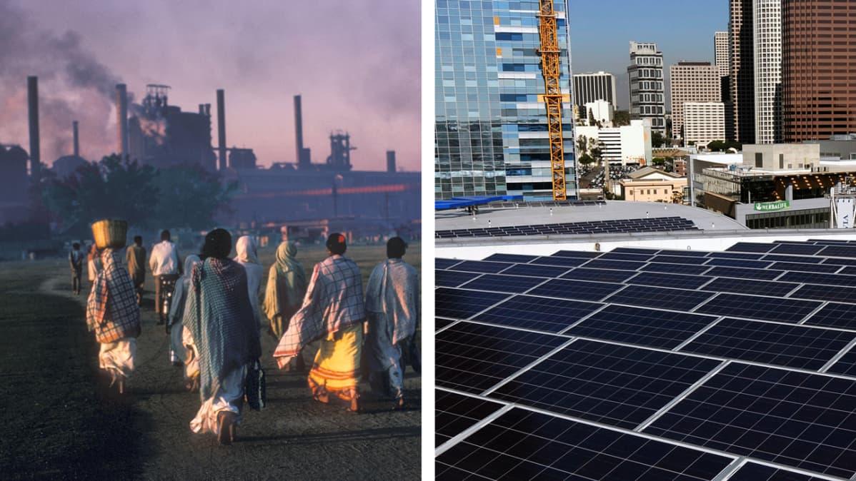 Intian savusumua ja Kalifornian aurinkopaneeleita.