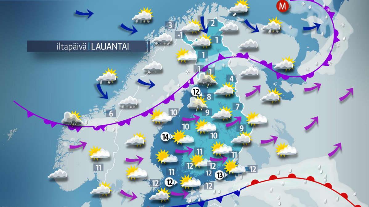 Sääennuste lauantaille 6. lokakuuta.
