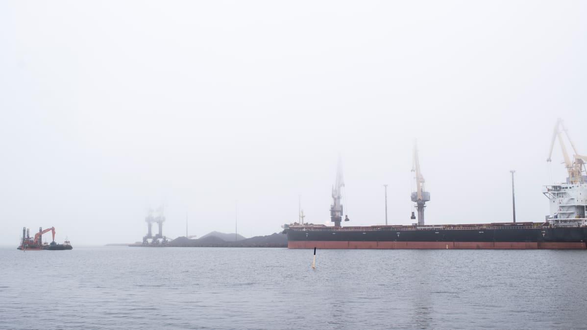 Kuvassa lastattavana oleva alus Kokkolan syväsatamassa