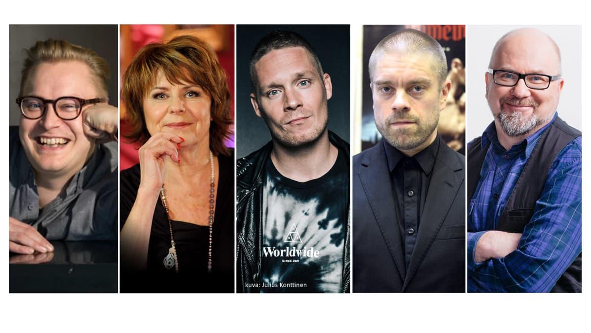 Teemu Nikki, Pirkko Mannola, Aste, Joonas Saartamo ja Juha Blomberg