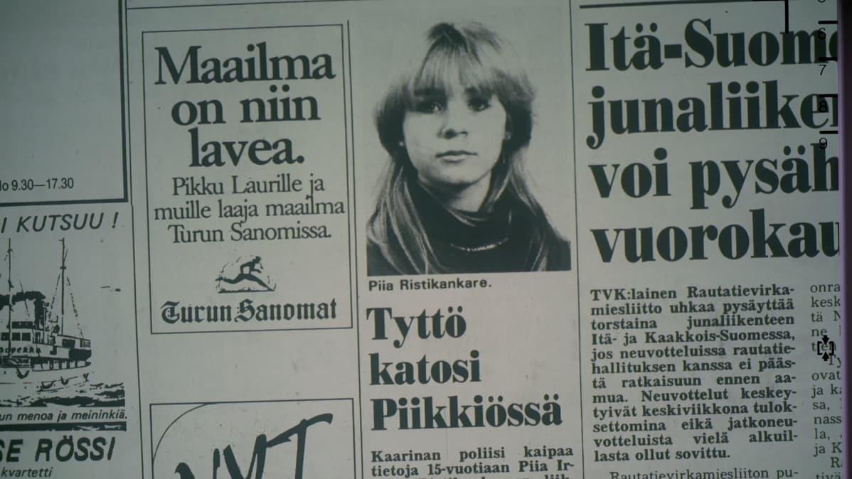 Piia Ristikankareen katoamisilmoitus lehdessä.