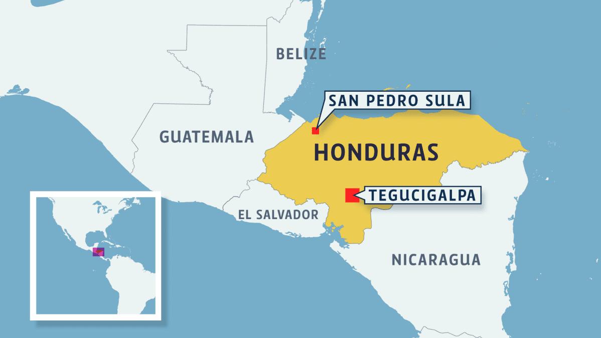 Karttagrafiikka, Honduras, Guatemala, Nicaragua ja Belize Väli-Amerikassa