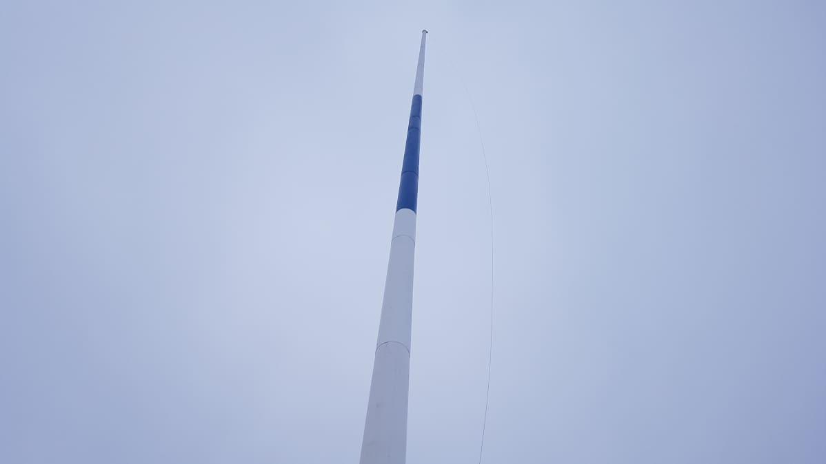 Sinivalkoinen lipputanko taivasta vasten.