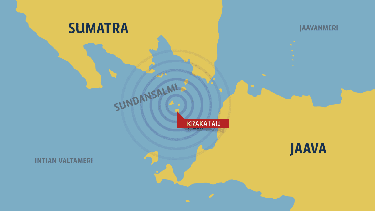 Kartta, jossa tsunamin keskus.