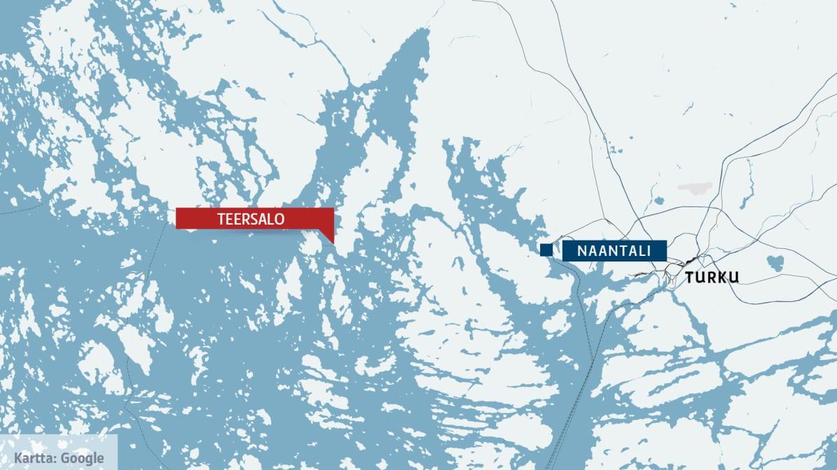 kartta jossa teersalo ja naantali