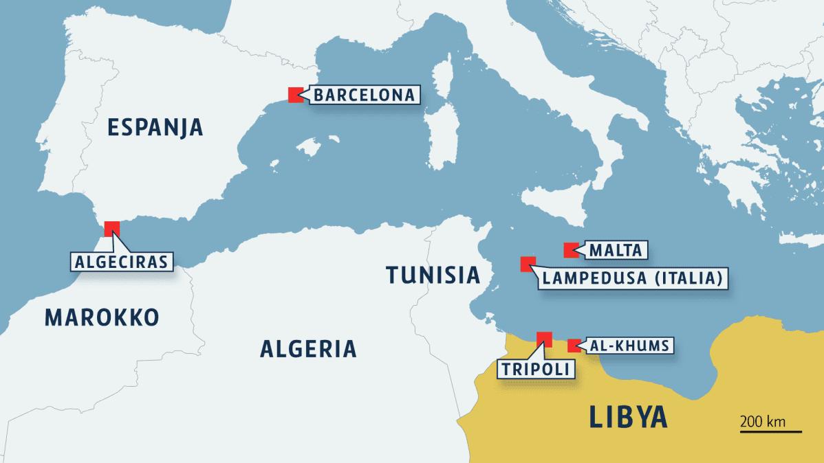 Kartta Libyasta ja Välimeren alueesta.
