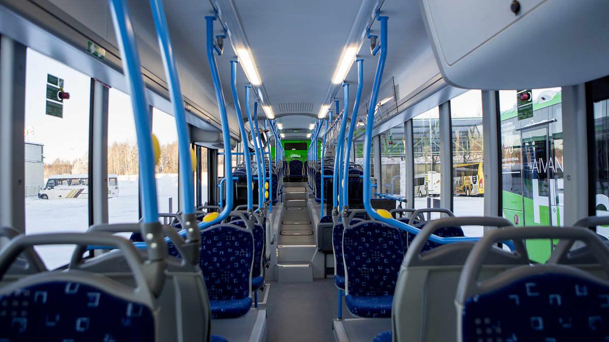 Lappeenrantaan hankittu uusi biokaasubussi sisältä.