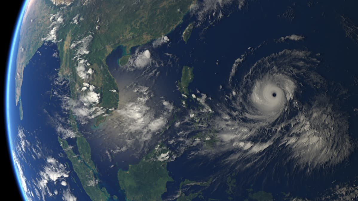 Supertaifuuni Mangkhut Tyynellä valtamerellä 12.09.2018