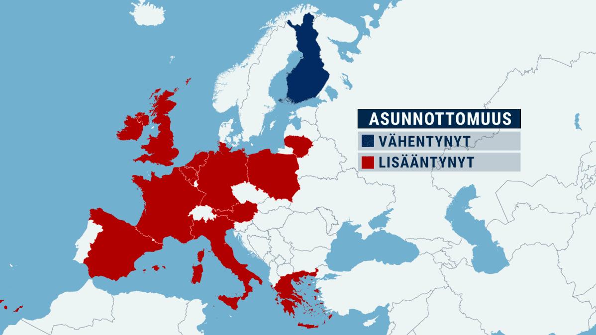 Kartta asunnottomuudesta Euroopassa