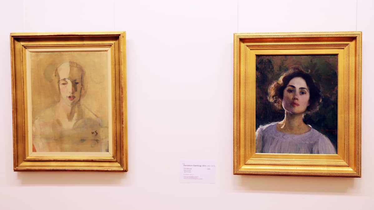 Vasemmalla Helene Scjerfbeckin Muotokuva edestä: Dora Estlander ja oikealla Elin Danielson-Gambogin maalaus Omakuva. Aineen kuvataidesäätiön kokoelmista.