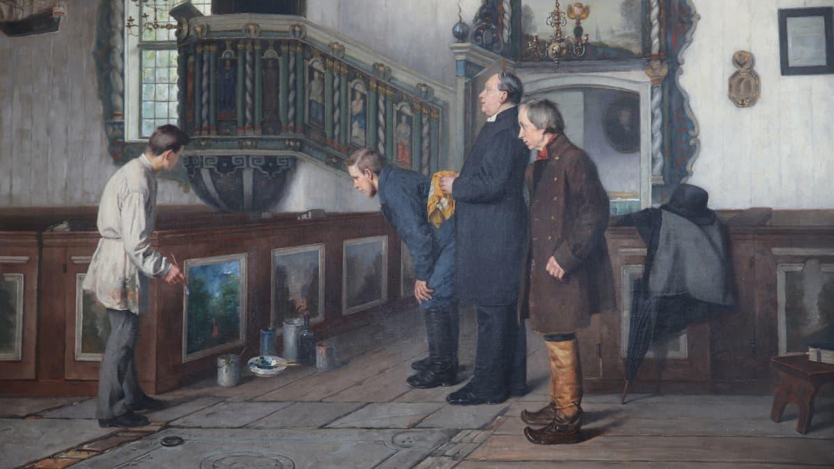 Yksityiskohta Arvid Liljelundin teoksesta Tornion kirkon interiööri. Aineen taidemuseon kokoelmat