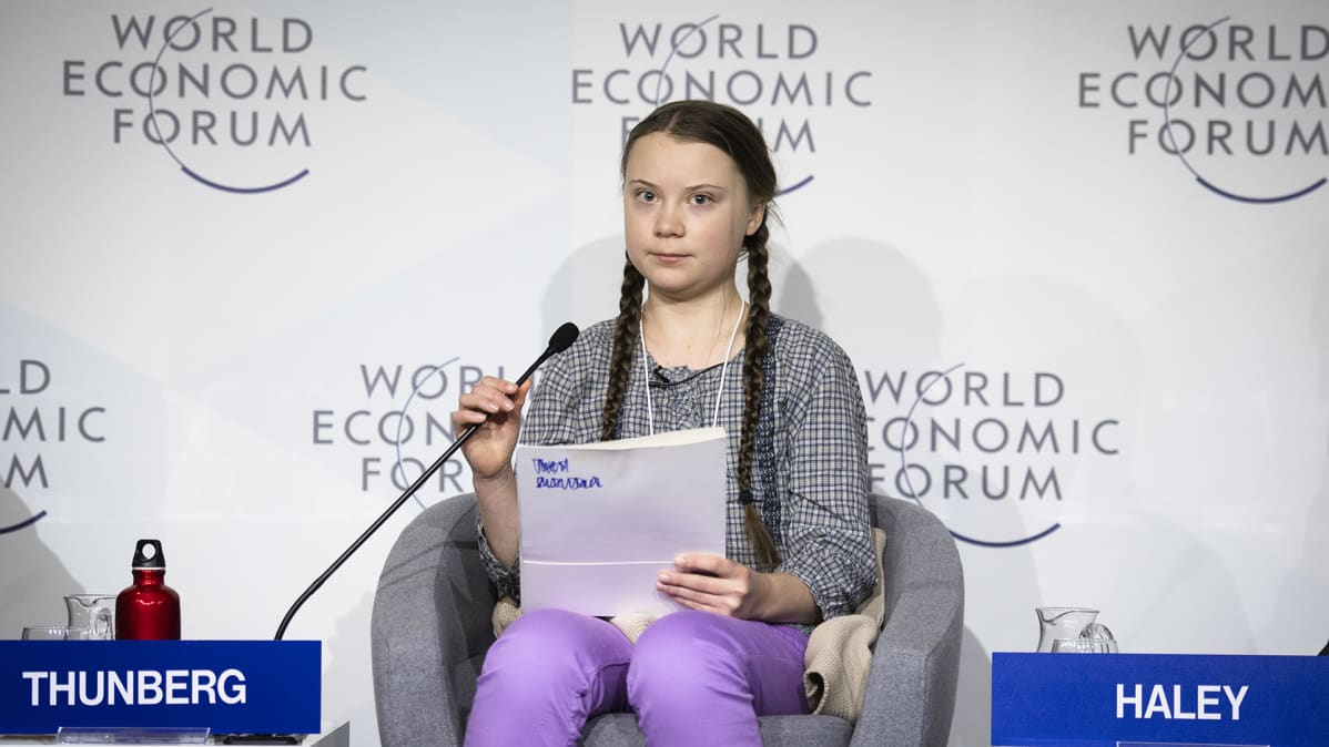 Greta Thunberg puhumassa Maailman talousfoorumissa Davosissa 25. tammikuuta.
