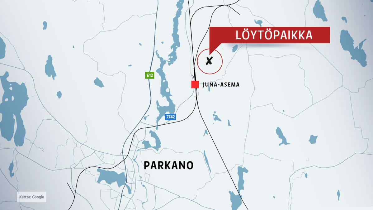 Uhri löydettiin läheltä Parkanon juna-asemaa