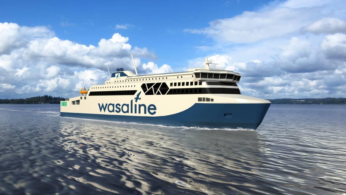Merenkurkun uusi laiva merenpinnan tasolta kuvattuna.