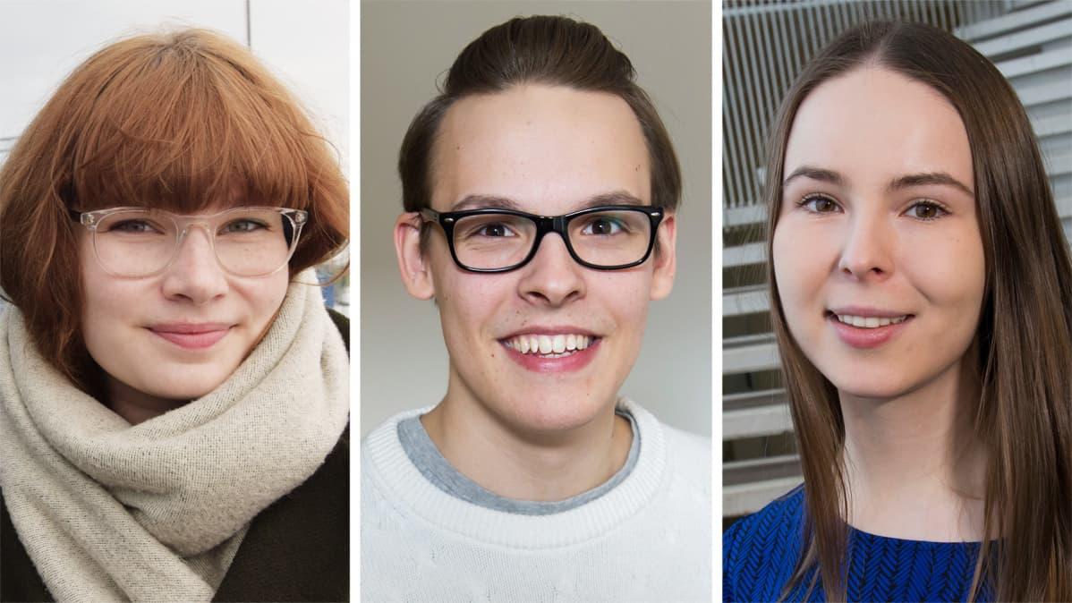Alina Heywood, Matias Pajula ja Elisa Gebhard.