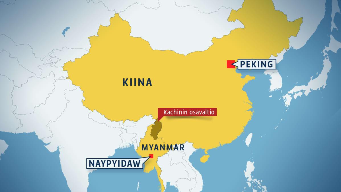 Kaakkois-Aasian kartta, josta näkyy Kachinin osavaltion sijainti lähellä Kiinan rajaa.