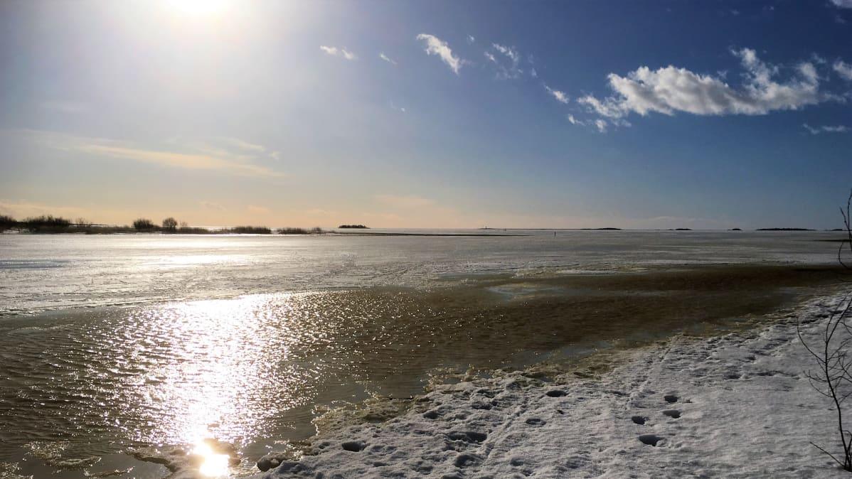 Maaliskuun lopun auringonpaistetta Perämeren jäällä.