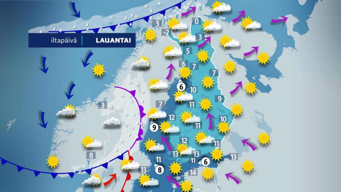 Sääennuste lauantaille 6. huhtikuuta.