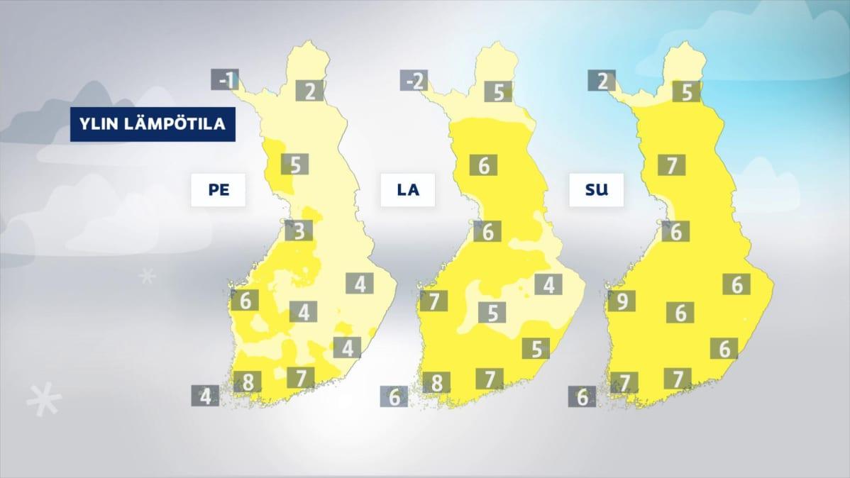 Lämpötilakarttoja ajalle 12.-14. huhtikuuta.