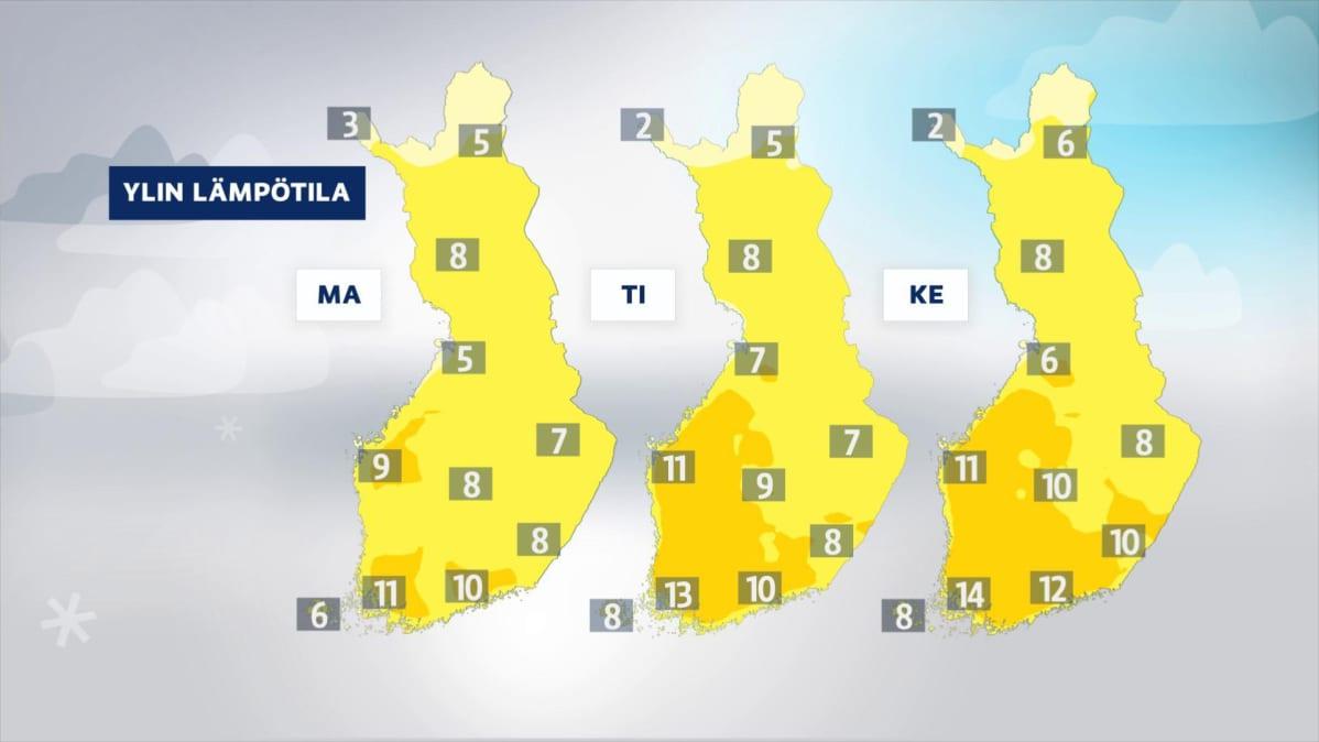 Lämpötilakarttoja ajalle 15.-17. huhtikuuta.