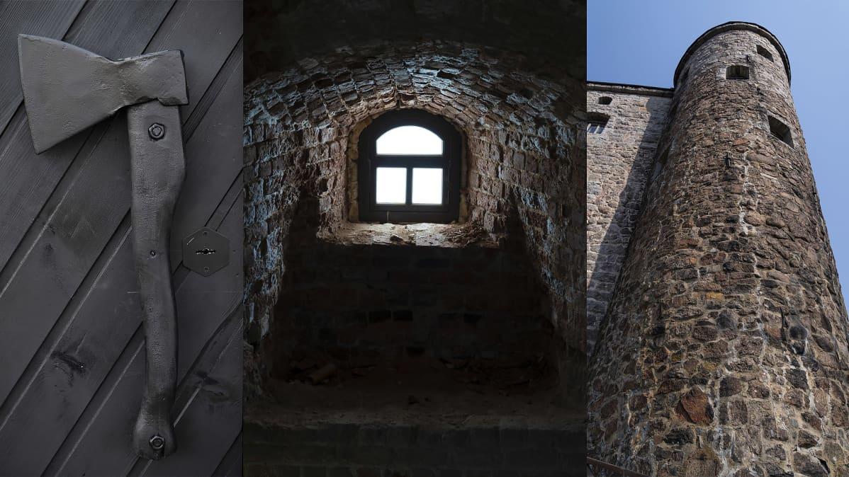 Kuvakombo: Kirves, Viipurin linnan ikkuna sisältä kuvattuna ja linnan torni.