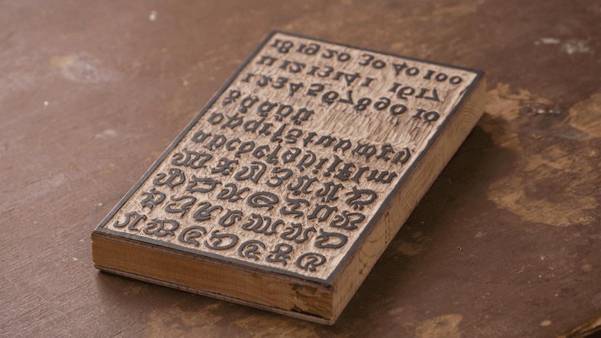 Allan Frilanderin tekemä rekonstruktio painolaatasta, jollaisia Daniel Medelplan todennäköisesti käytti painaessaan Pälkäneen puuaapisia.