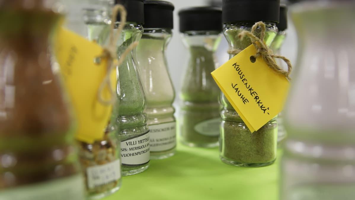 Lasisia maustepurkkeja läheltä kuvattuna