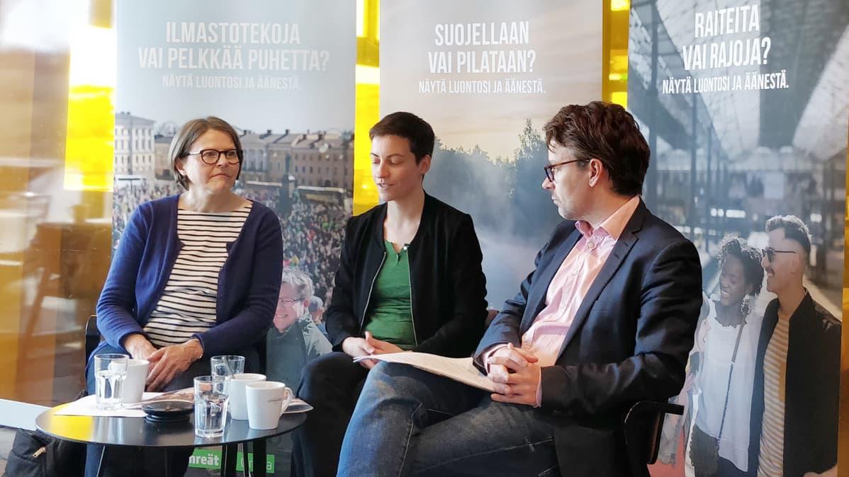 Heidi Hautala, Ska Keller ja Ville Niinistö.