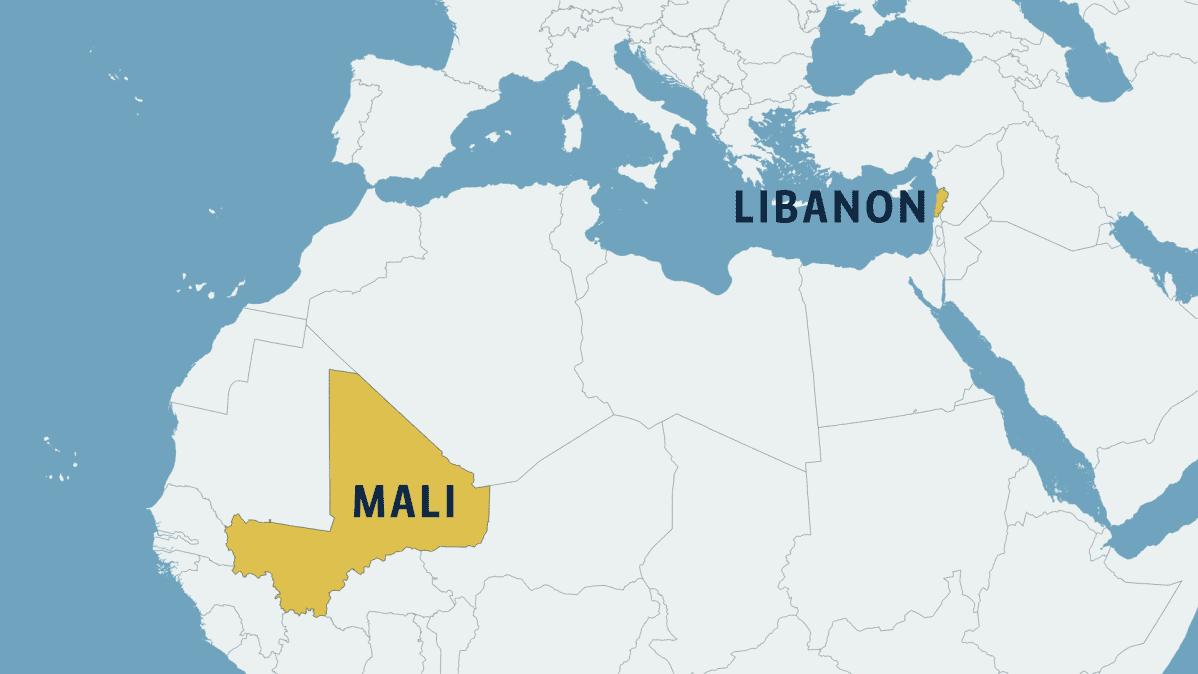 Libanon ja Mali kartalla
