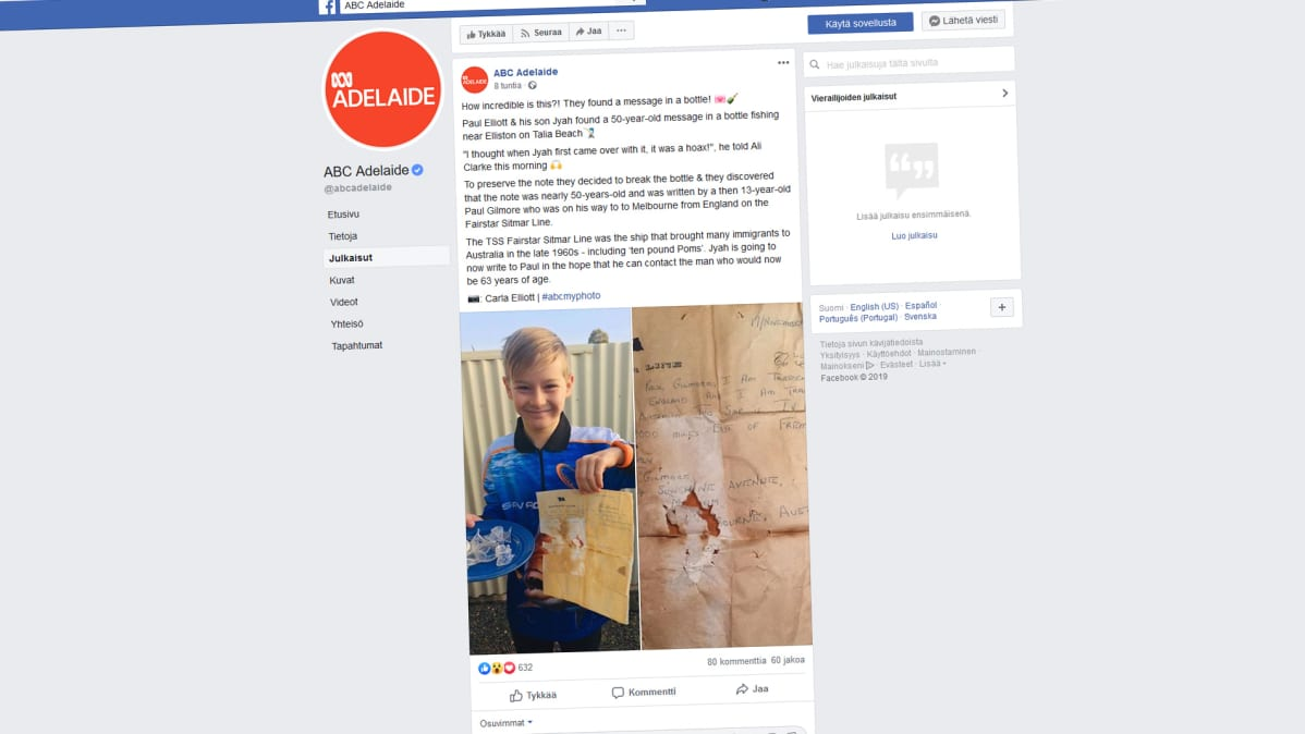 Kuvakaappaus ABC Adelaiden Facebook-sivusta.