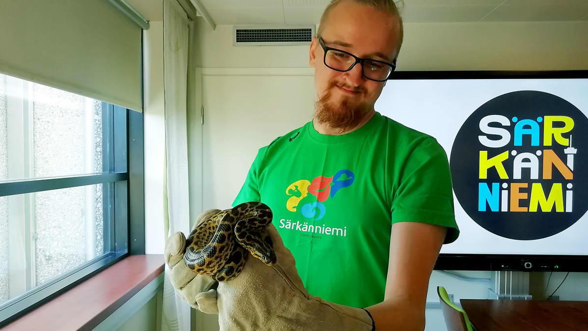 Eläintenhoitaja Kai Lindegren pitää kädessään karkuteillä ollutta anakondaa Särkänniemessä