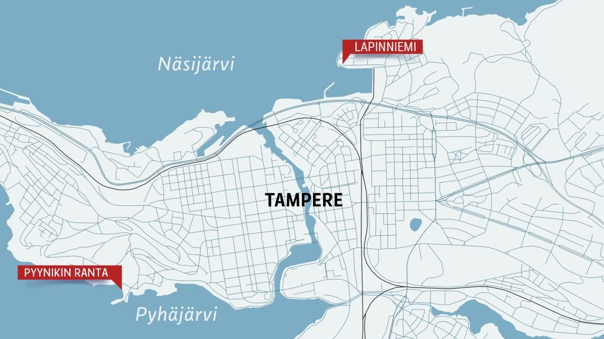 Tampereen kartta, jossa Lapinniemi ja Pyynikin uimaranta.