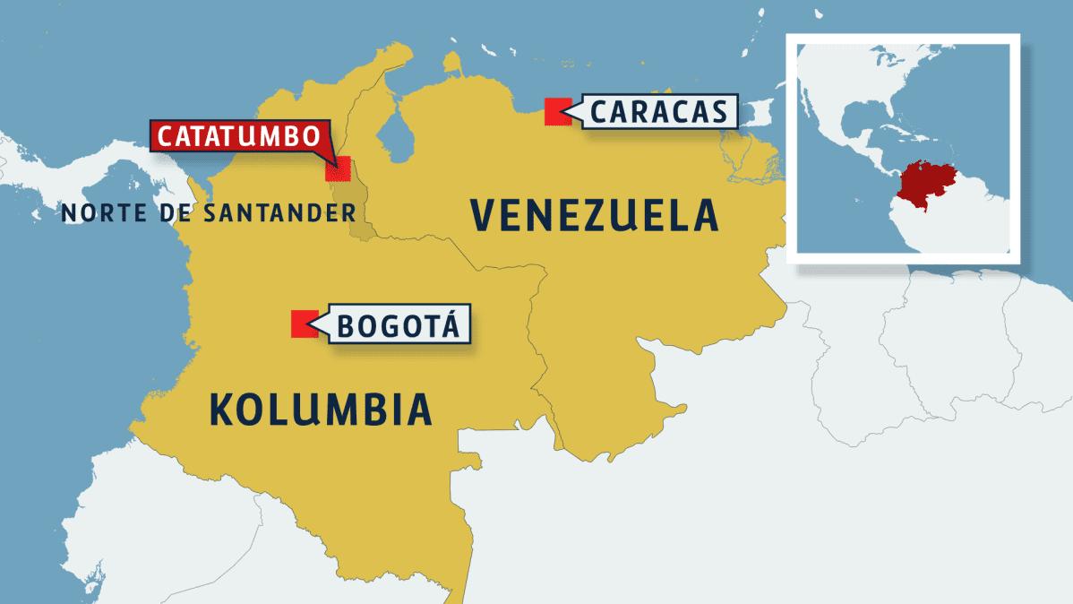 Kolumbian ja Venezuelan kartta.