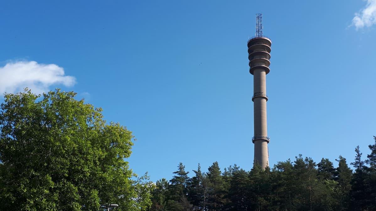 Pääskyvuoren linkkitorni vehreän maiseman keskellä.