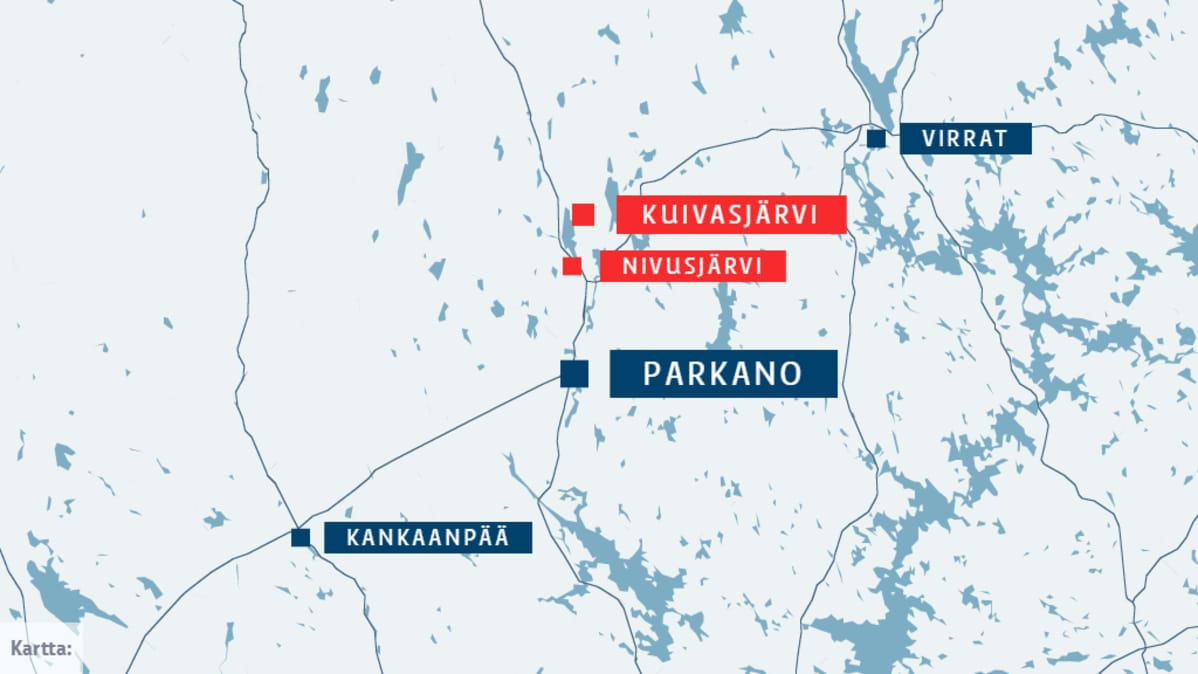 Parkanon Kuivasjärven vesistöä kartalla. Parkanon keskustan pohjoispuolella.